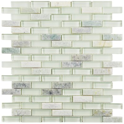 """Sierra 0.58"""" x 1.88"""" Glass and Natural Stone Mosaic Tile in Ming"""