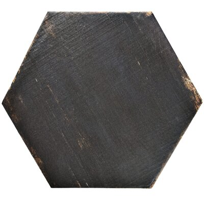 "Rama Hexagon 14.13"" x 16.25"" Porcelain Mosaic Tile in Black"