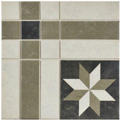 "Cien 9.75"" x 9.75"" Porcelain Field Tile in Black/Tan"