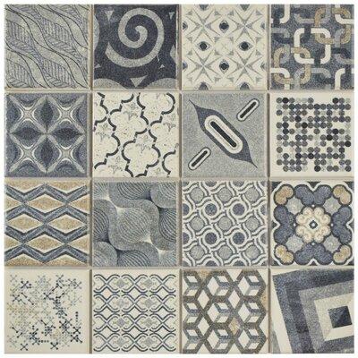 """Cien 9.75"""" x 9.75"""" Porcelain Field Tile in Gray/Blue"""