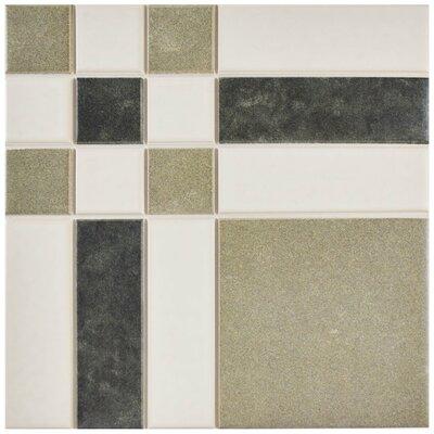 "Cien 9.75"" x 9.75"" Porcelain Field Tile in Tan/Black"