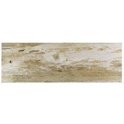 """Alcazar 7.88"""" x 23.63"""" Ceramic Wood Look Tile in Matte Brown/Beige"""
