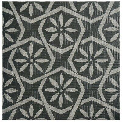 """Region 6"""" x 6"""" Porcelain Field Tile in Black/Gray"""