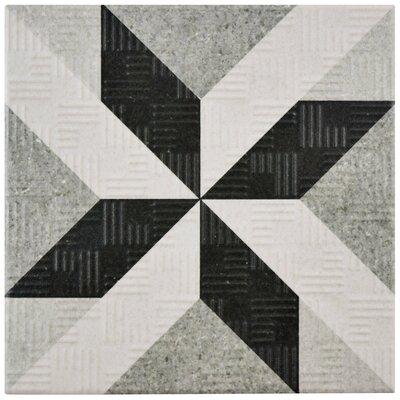 "Region 6"" x 6"" Porcelain Field Tile in Light Gray/Black"