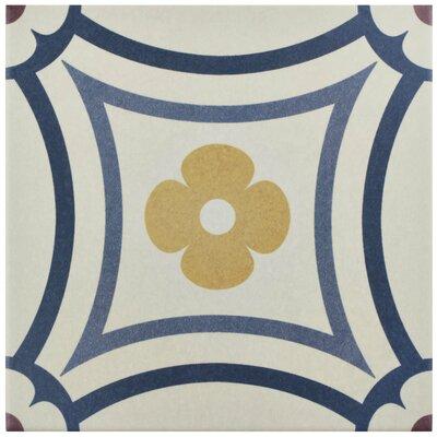 """Grotta 7.88"""" x 7.88"""" Porcelain Field Tile in White/Blue"""