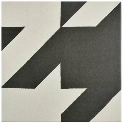 """Grotta 7.88"""" x 7.88"""" Porcelain Field Tile in Black/White"""