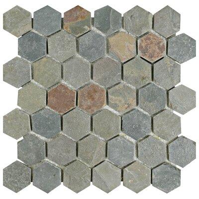 "Peak Hexagon 1.88"" x 1.88"" Slate Mosaic Tile in Gray"