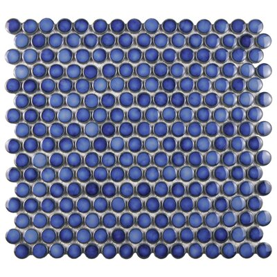 """Penny 0.8"""" x 0.8"""" Porcelain Mosaic Tile in Sapphire"""