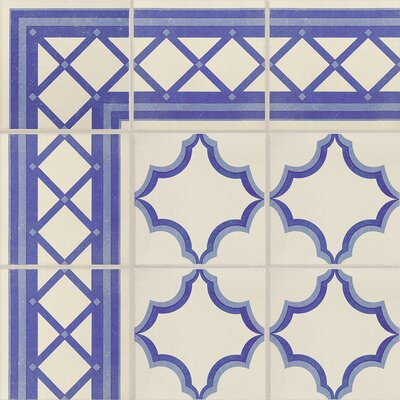 "Cementa 7"" x 7"" Porcelain Field Tile in Blue/White"