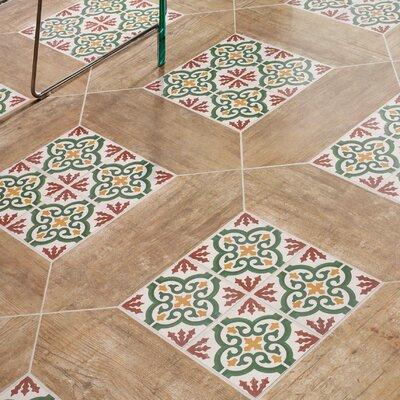 """Cementa 7"""" x 7"""" Ceramic Tile in Gold/Green/Burgundy/White"""