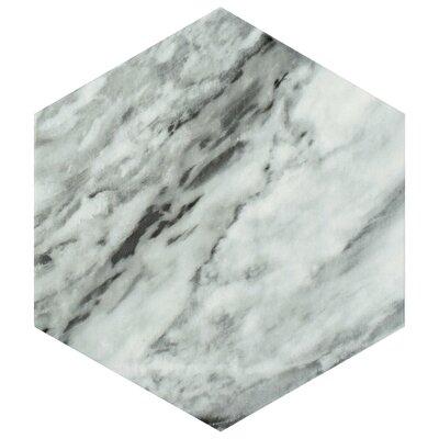 """Karra Hexagon 7"""" x 8"""" Porcelain Field Tile in Gray/White"""
