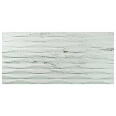 "Marbre Carrara 12.88"" x 25.63"" Porcelain Field Tile in White"