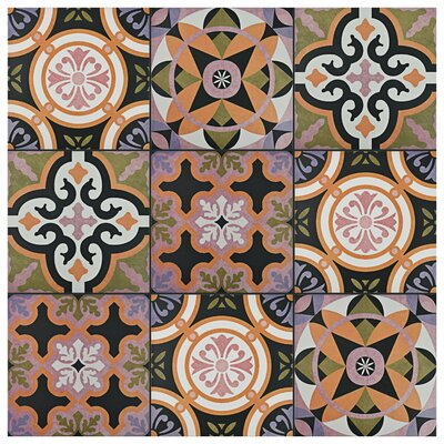 """Helen 9.75"""" x 9.75"""" Porcelain Field Tile in Black/Green"""