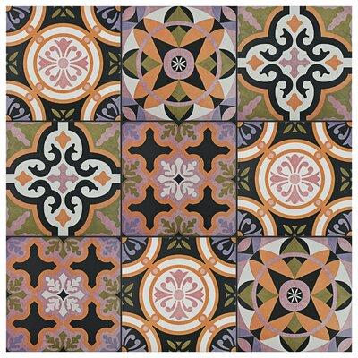 """Helen 9.75"""" x 9.75"""" Porcelain Field Tile in Black/Orange"""