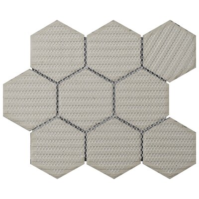 "Retro Super Hex 3.73"" x 3.73"" Porcelain Mosaic Tile in Glossy Black"
