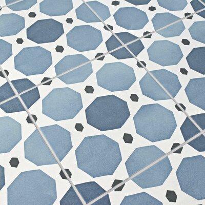 """Grotta 7.88"""" x 7.88"""" Porcelain Field Tile in Sapphire/Beige"""