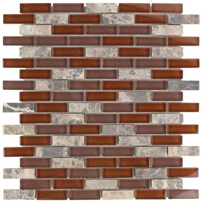 """Sierra 0.58"""" x 1.88"""" Glass and Natural Stone Mosaic Tile in Bordeaux"""