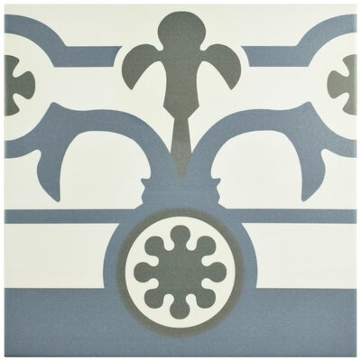 "Hydraulic 9.75"" x 9.75"" Porcelain Field Tile in Gray/Blue"