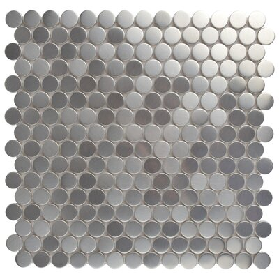 """Vulcan 11.75"""" x 11.75"""" Ceramic Mosaic Tile in Polished Stainless steel"""