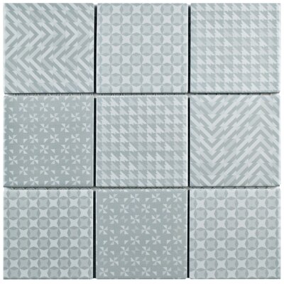 """Geogloss 3.88"""" x 3.88"""" Porcelain Mosaic Tile in Gray"""