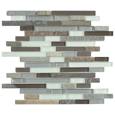 Sierra Random Sized Glass and Natural Stone Mosaic Tile in Brown/Gray