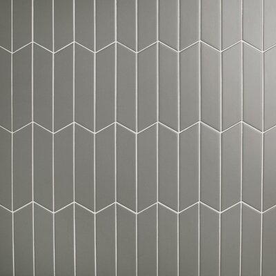 "Retro Soho Chevron 1.75"" x 7"" Porcelain Field Tile in Gray"