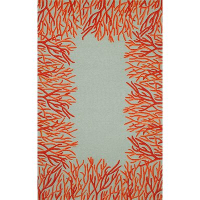 Spello Orange Coral Border Orange Blue Outdoor Area Rug