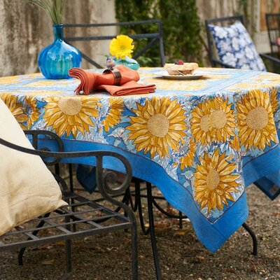 """Sunflower Tablecloth Size: 106"""" W x 71"""" L, Color: Green"""