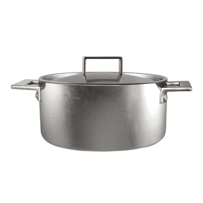 Attiva Casserole 2 Hand Pewter Stock Pot with Lid Size: 5.25 Qt.