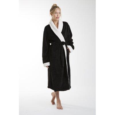Patrie Sherpa Bathrobe Color: Black, Size: Extra Large