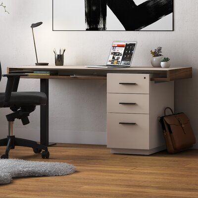 Duo Desk Color: Toffee and Black Finishes with Taupe Glass