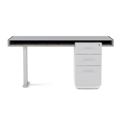Duo Desk Color: Platinum and Satin White Finishes with Gray Glass
