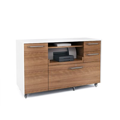Format 2 Drawer Mobile Credenza Color: Natural Walnut/Satin White