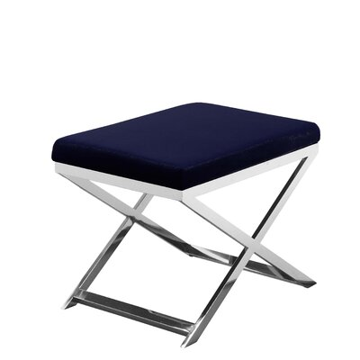 Bittle Accent Stool Frame Color: Silver, Seat Color: Navy