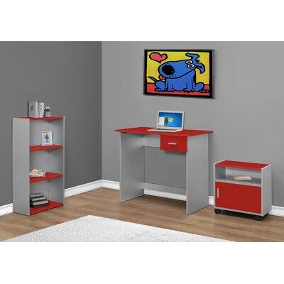 3 Piece Standard Desk Office Suite Color: Red / Silver