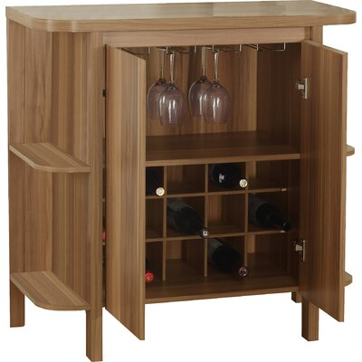 Keshia Guffey Bar with Wine Storage Color: Walnut