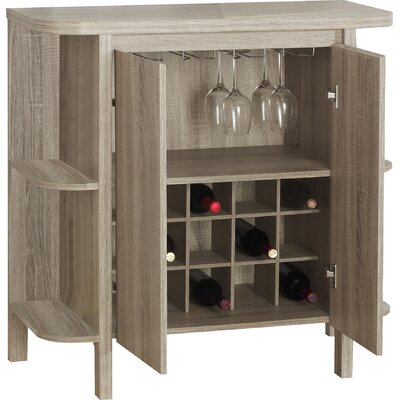 Keshia Guffey Bar with Wine Storage Color: Dark Taupe