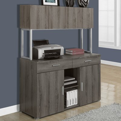 Credenza Desk with Hutch Finish: Taupe