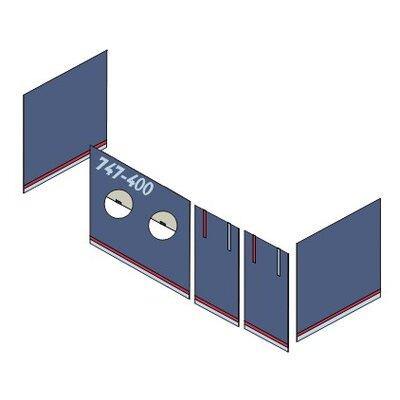 Hoppekids Vorhang in Aeroplane für 200cm x 90cm halbhohes Bett
