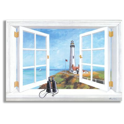 mirrors for bathrooms stupell industries pigeon point lighthouse faux window 13704