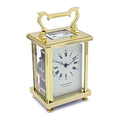 David Peterson Ltd Flat Brass Carriage Mantel Clock