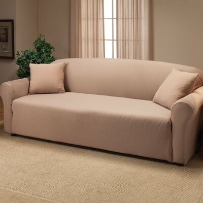 Floral Box Cushion Sofa Slipcover Color: Linen