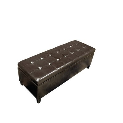 Faux Leather Storage Bench Color: Brown