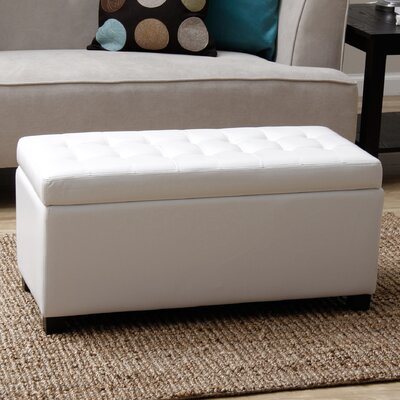 Malm Upholstered Storage Bench Color: White
