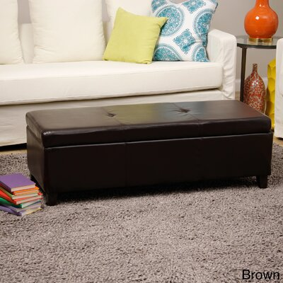 Eagarville Upholstered Storage Bench Upholstery: Brown