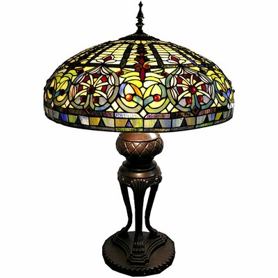 "Warehouse of Tiffany Classic Fan Boasts 35"" H Table Lamp with Bowl Shade"