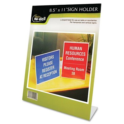 Clear Plastic Sign Holder, Stand-Up, Slanted