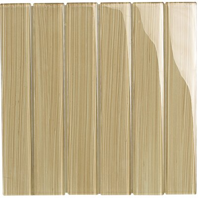 "Brushstrokes 2"" x 12"" Glass Mosaic Tile in Tan"