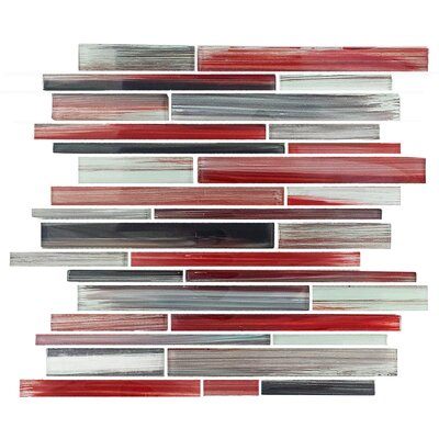 Abbott Random Sized Glass Mosaic Tile in Multi-Red