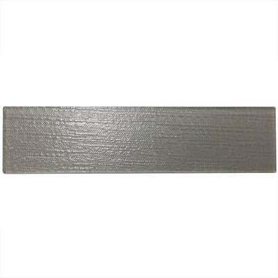 "Grain Textured 3"" x 12"" Glass Subway Tile in Gray"